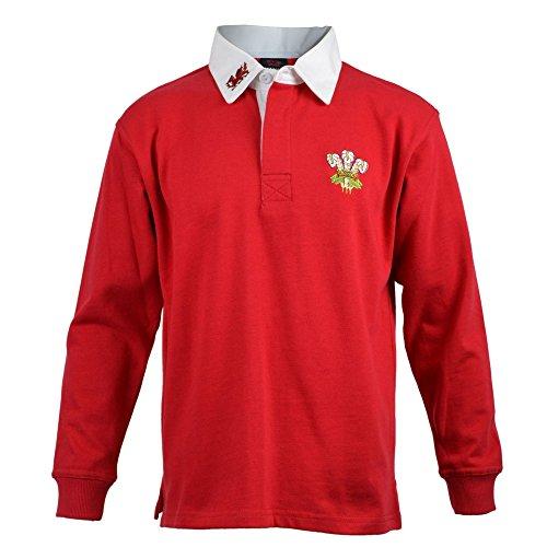 Manav Infant Wales Rugby-Shirt Lange Ärmel Rot und Weiß Gr. XX-Large, rot (Rugby Lange Ärmel Gerippte)