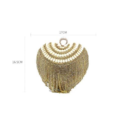 Lady Borsa A Catena Diamante Fibbia Anulare Spalla Borsa Messenger A Forma Di Cuore Borsa Da Sera Mini Borsa Black