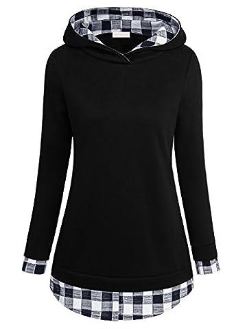 EA Selection Sweaters 2 en 1 Chemise Pullover chaud A Capuche Veste Femme Noir-Carreaux L
