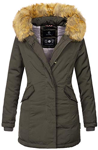 Marikoo Damen Winter Jacke Parka Mantel Winterjacke warm gefüttert B362 [B362-Karmaa-Anthrazit-Gr.S]