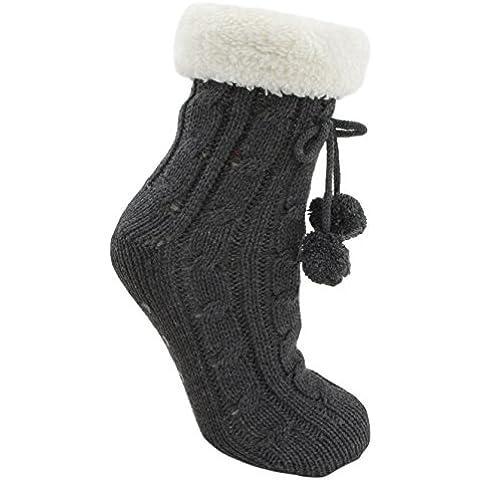 Foxbury Ladies Cable Knit Slipper Calcetines con antideslizante soles y peluche Cuff