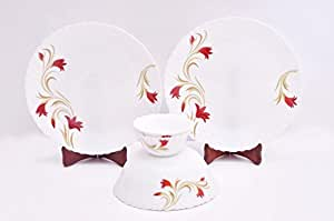 Larah Fluted Red Lily White Dinner Set (5 Pieces)