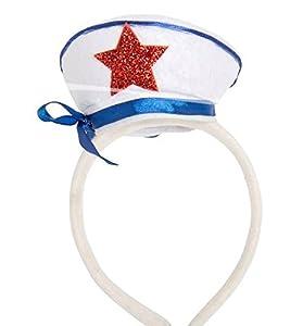 Folat Sailor Star Diadema y Cinta (Talla única, Blanca, Azul y roja)