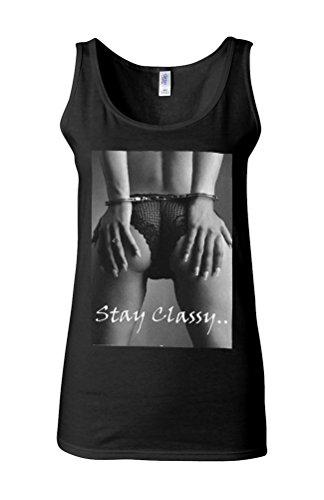 Handcuff Sexy Girl Stay Classy Novelty White Femme Women Tricot de Corps Tank Top Vest *Noir