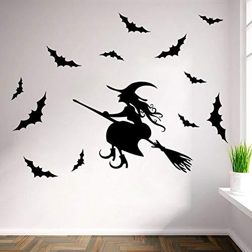 en Besen Zauberer Zauberer Fledermäuse wohnkultur wandaufkleber lustige party kinderzimmer aufkleber aufkleber shop dekoration kunst ()