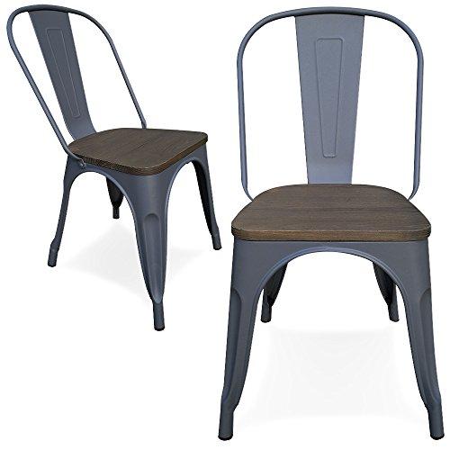 Victor chaises - 2 sedie Tolix, in metallo, nere e grigie, con ...