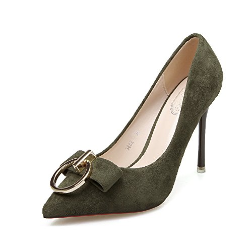 Aisun Damen Mode Schleifen Metall Ring Spitz Zehe Low Top Stiletto Pumps Grün