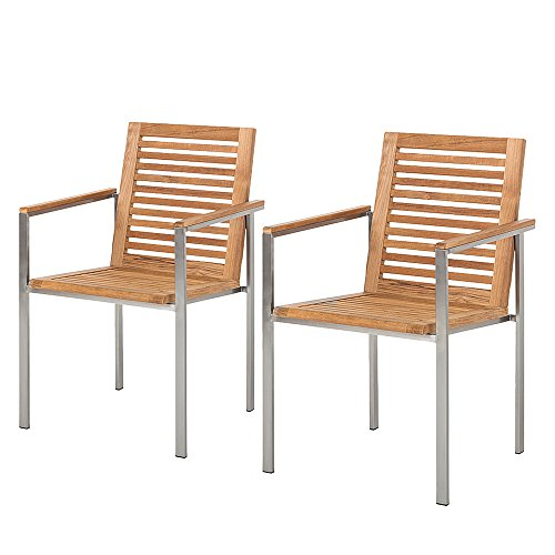 Ambientehome Stuhl, 2-er Set Stapelstuhl Teakholz Edelstahl Soho Sessel, braun, 96x58x10 cm, 69284 - Edelstahl-stapelstühle