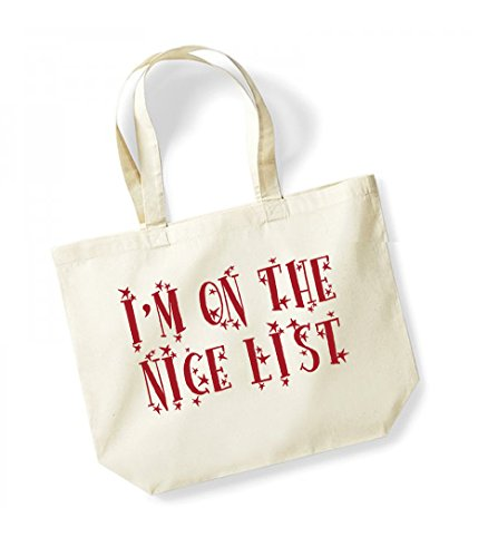 I'm On The Nice List - Large Canvas Fun Slogan Tote Bag Natural/Red