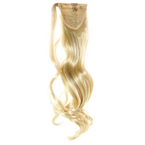 Pferdeschwanz, 60cm, 100g, gewellt - #N-613 Lichtblond - Haarteil Optisch wie Echthaar Extensions