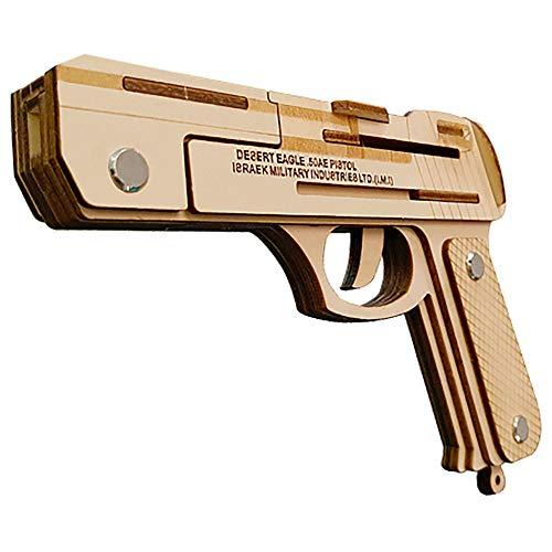 Hfudgj 3D DIY Holz Puzzle Spielzeug militärische Waffe Serie Desert Eagle Gummiband Pistole Modell Set kreative Montage pädagogisches Puzzle Kinder Spielzeug Geschenke (Gummibänder Für Waffen)
