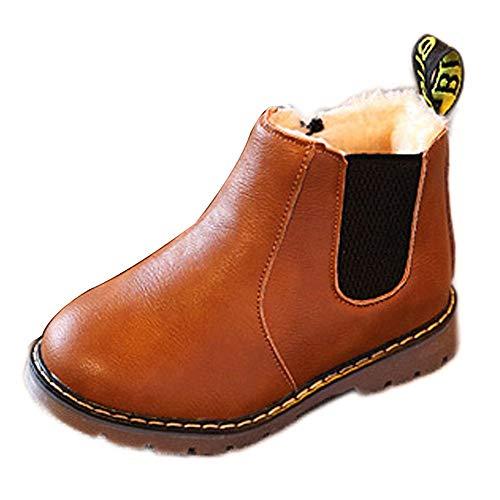 DAY8 Chaussures Fille Hiver Chaud Martin Sneakers Basket Bottine Fille Pas Cher Bottes Neige Ski Chelsea Botte Caoutchouc Fourrure Fille Enfant Antidérapant Bottillons Garcon Cuir PU (Marron, 28 EU)
