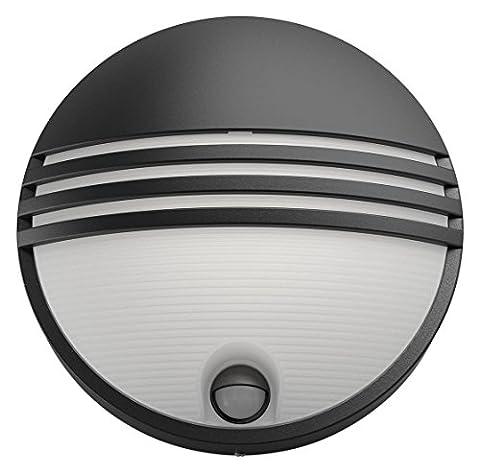Philips luminaire extérieur LED applique murale noire avec détection Yarrow lumière blanc chaud