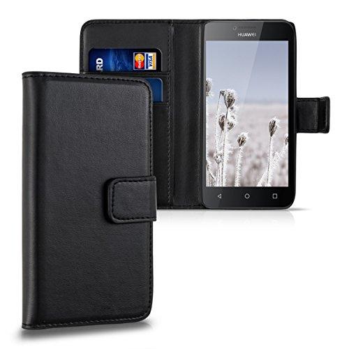 kwmobile Hülle für Huawei Y5 - Wallet Case Handy Schutzhülle Kunstleder - Handycover Klapphülle mit Kartenfach und Ständer Schwarz