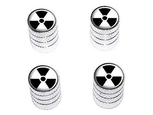 Radioactive auf weiß–Reifen Reifen Felge Rad Ventil Vorbau Endkappen–Aluminium Farbe