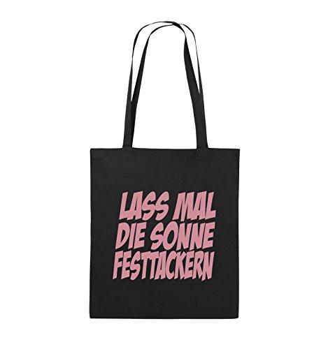 Comedy Bags - LASS MAL DIE SONNE FESTTACKERN - Jutebeutel - lange Henkel - 38x42cm - Farbe: Schwarz / Pink Schwarz / Rosa