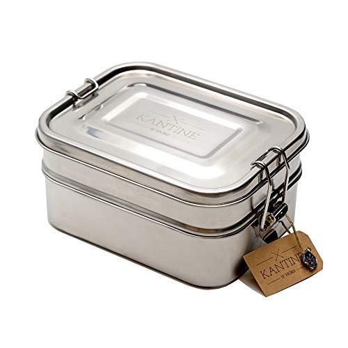 Kantine 51° Nord Lunchbox Bento | 3-lagige Brotdose aus Edelstahl | 100% plastikfrei, nachhaltig und gesund | Gut für Kinder, Erwachsene und die Umwelt | Perfekter Begleiter für Schule, Uni und Büro
