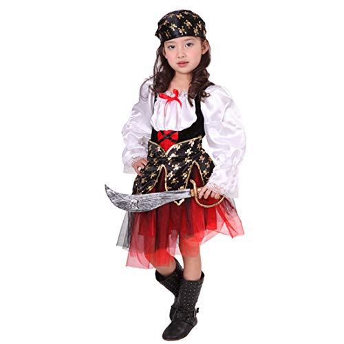 Neuheit Kreativ Kind Kostüm - Halloween Junge Mädchen Pirat Kinderkostüm, ideal für Karneval, Halloween und Themen Partys usw.(Beinhaltet Nicht: Waffe),2#,Height:110~120CM (Piraten Waffen Kit)