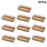 BESTONZON 10PCS rettangolari Kraft Paper Sandwich Wrapping Boxes torta pane scatola di imballaggio con coperchi in plastica trasparente