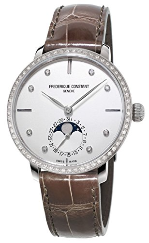 Frederique Constant Manufacture Slimline Moonphase Steel & Diamond Womens Watch Date FC-703SD3SD6