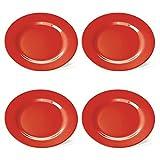 4 rote Kunststoff-Teller, Frühstücksteller, flach, 20 cm, aus Melamin