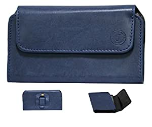 Jo Jo A4 Nillofer Belt Case Mobile Leather Carry Pouch Holder Cover Clip For Micromax A111 Canvas Doodle Dark Blue