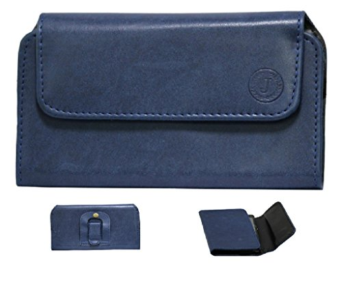 Brain Freezer Jo Jo A4 Nillofer Belt Case Mobile Leather Carry Pouch Holder Cover Clip Asus A10 Dark Blue