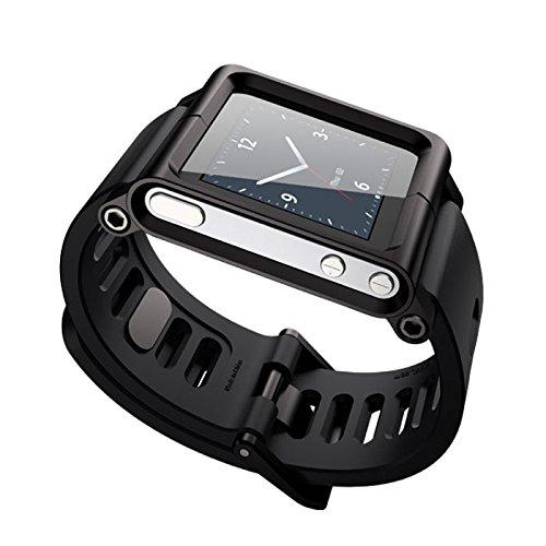 Für iPod Nano 6/6th Armband Uhrenarmbänder, Schwarzes Aluminium Silikon Mix Multi-Touch Uhrenarmband Smart Watch Armbänder Wasserdicht,GemüTlich,Haltbar Und Schmutzabweisend丨 für Herren/Damen - Nano Wasserdichte Ipod Armband