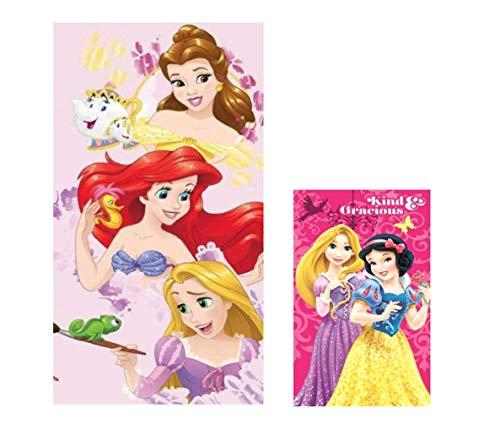 Theonoi 2 er Set Kinder Tuch : 1 x Badetuch/Strandtuch + 1x Gesichtstuch/Handtuch - aus Baumwolle - Geschenk für Mädchen (Disney- Princess)