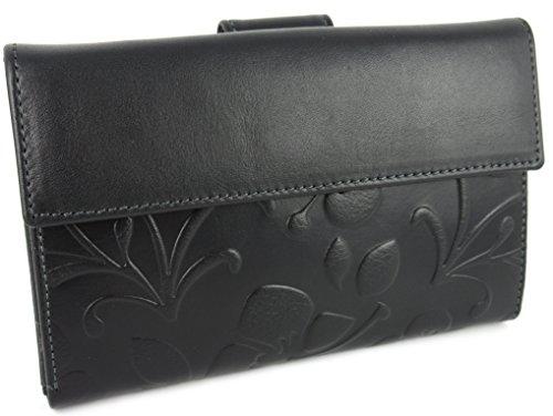 Fatto a mano da artigiani in Spagna - Vera Pelle di alta qualità - Portafoglio donna - Colori disponibili (Nero Floreale) Nero