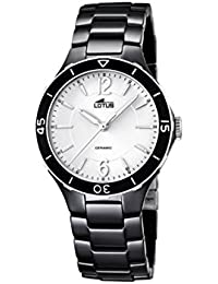 lotus reloj de cuarzo para mujer con color blanco esfera analgica pantalla y negro pulsera de