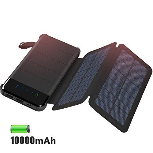 Caricabatterie solare 10000mah, addtop staccabile pieghevole 2pannelli solari solar power bank portatile batteria esterna con doppia porta usb per iphone, ipad, telefoni android, tablet, fotocamere, gps, ecc.