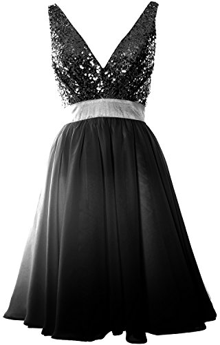 MACloth Women V Neck Sequin Cocktail Dress Vintage Short Formal Prom Party Gown Black