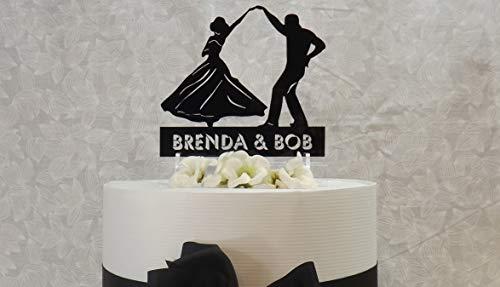om Dancing Couple Tanzen der Rumba Cake Topper Zeichen und Andenken Nachname Last Farm Child Ranch oder Lodge Name est ()