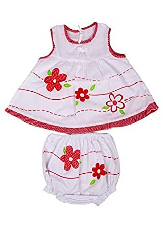 Baby Joy Baby Girl Cotton Clothing Set (3-6 Months,White & Red,Pack of 2)