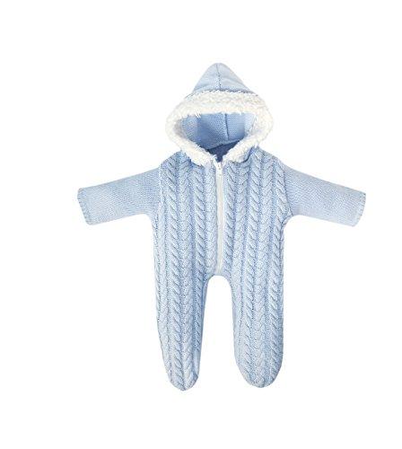 Preisvergleich Produktbild Bayer Design 83869 - Kleidung für Puppen circa 36 - 38 cm, Strampler, blau im Strickdesign