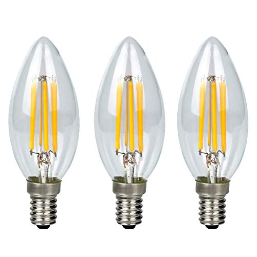 GreenSun LED Lighting 3-10er 6W E14 Kerze LED Lampe, Kein Flackern Dimmbar E14 Glühfaden ersetzt 60W Glühlampe, Warmweiß 2700K, Filament Fadenlampe, Glas, 360° Abstrahlwinkel