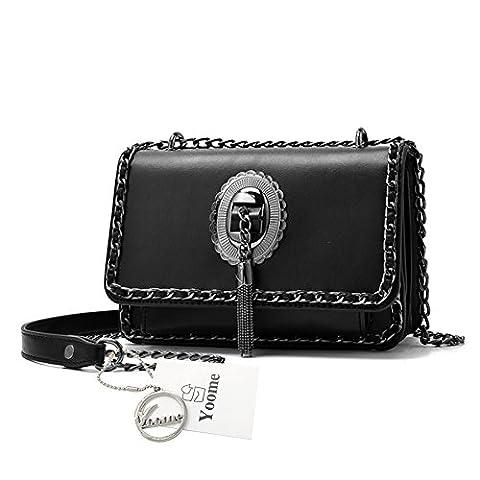 Yoome Fashion Punk Style Tassel Chain Lock Bag Sacs pour filles et porte-monnaie pour ados Sacs à main pour dames