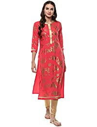 [Sponsored Products]Janasya Women's Pink Foil Printed Crepe Straight Kurta (JNE2040-KR-352)