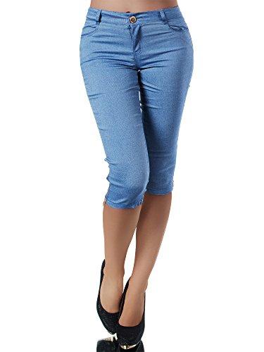 Diva-Jeans N951 Damen Caprihose Treggings Leggings Stoffhose Sommerhose Knielang 3/4 Capri, Farben:Blau, Größen:S
