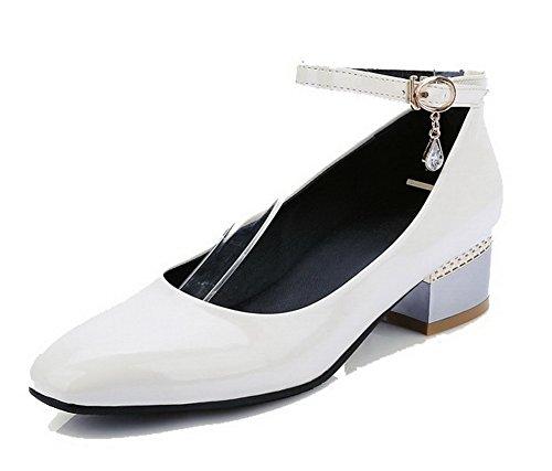 AllhqFashion Femme Couleur Unie Pu Cuir à Talon Bas Carré Boucle Chaussures Légeres Beige