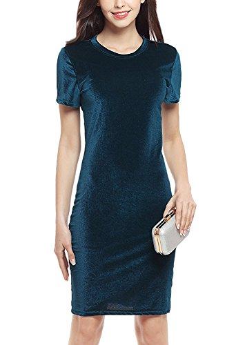 Minetom Damen Elegant Sommer Kleid Vintage Rundhals Kurzarm ...