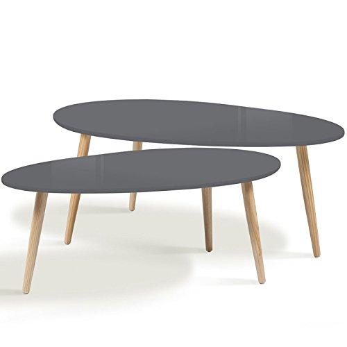 IDMarket - Lot de 2 Tables Basses gigognes laquées Grises scandinave
