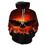 WEIYIGE Sweatshirt 3D Eagle Print Kapuzenpullover mit Rollkragen Herren Cap Herren Sweater - L