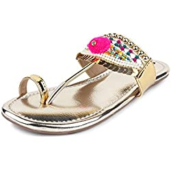 Do Bhai Synthetic Metro Flat Sandal for Women (36 EU, Golden)