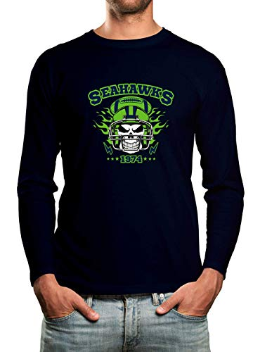 Seahawks The Hawks American Football Any Given Sunday Premium T-Shirt Longsleeve Herren Herrenshirt, Größe:S, Farbe:blau (Navy)