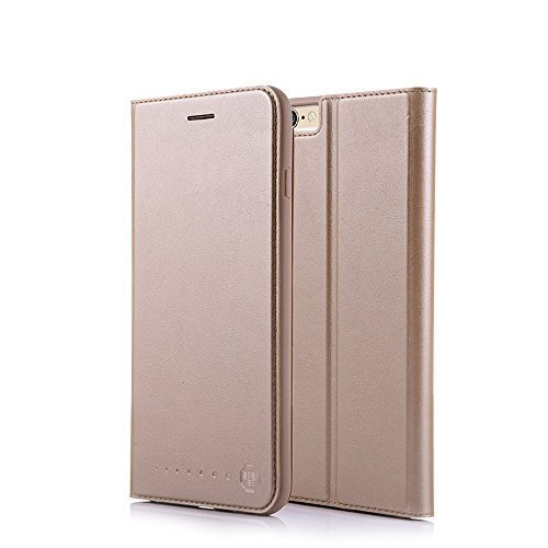/6S Plus Hülle 5.5 Zoll Stand Etui with Karte Halterung Leder Wallet Klapphülle Flip Book Case TPU Cover Bumper Tasche Ultra Slim, Gold ()
