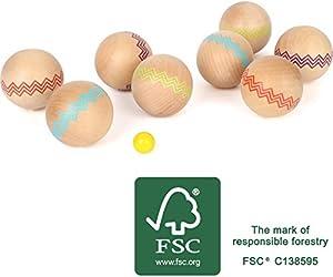 Small Foot 12029 Boule Active de Madera certificada FSC 100%, para niños a Partir de 3 años, Juego de Exterior para el jardín o la Playa