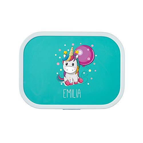 Einhorn mit Namen   Mepal Campus inkl. Bento Box & Gabel - Schule - Kindergarten - Snackbox - versch. Farben (Türkis) ()