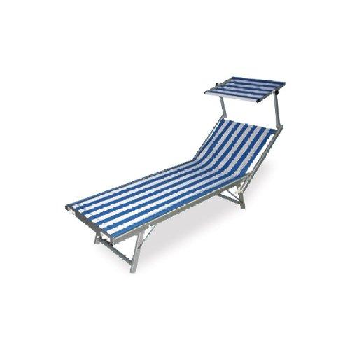 Kinderbett Strand Sonnenliege mit Sonnendach schwenkbar weiß und blau
